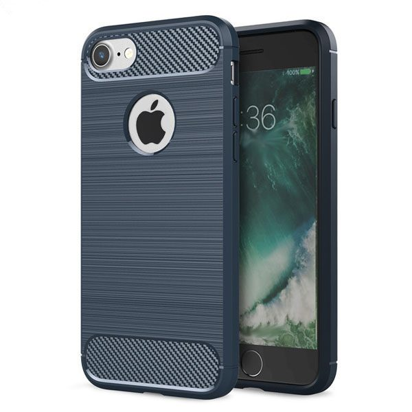 iphone hoesje blauw - tpu carbon