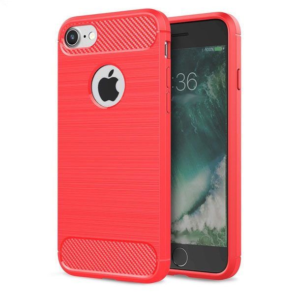 iphone hoesje rood - tpu carbon