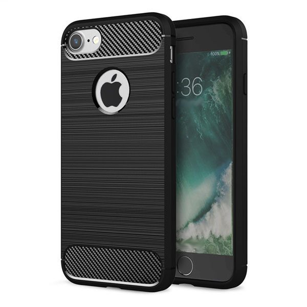 iphone hoesje zwart - tpu carbon