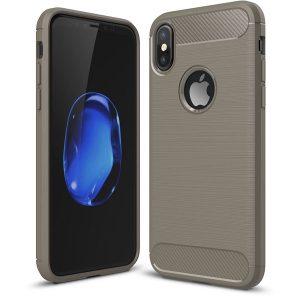 iPhone X Hoesje - Grijs - Geborsteld TPU Carbon Case