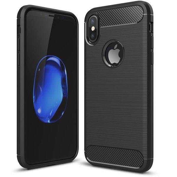iPhone X Hoesje - Zwart - Geborsteld TPU Carbon Case