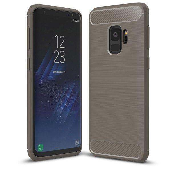 Samsung Galaxy S9 Hoesje - Grijs - Geborsteld TPU Carbon Case