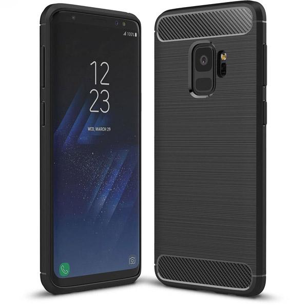 Samsung Galaxy S9 Hoesje - Zwart - Geborsteld TPU Carbon Case