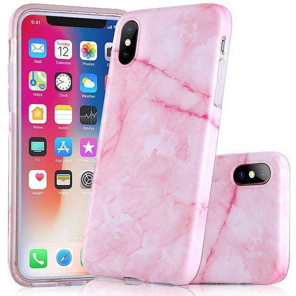 iPhone X hoesje marmer roze