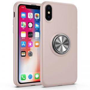 Roze iPhone X / Xs hoesje cover met ring