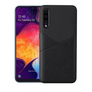 Samsung Galaxy A50 hoesje back cover zwart leer textuur