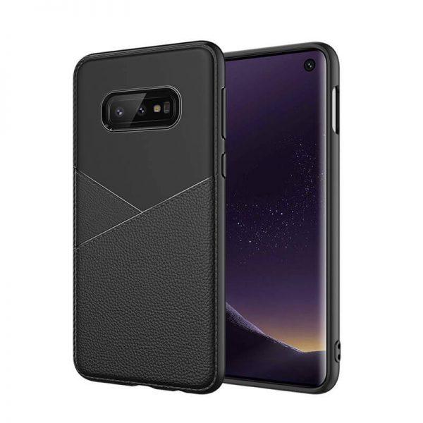 Samsung Galaxy S10 hoesje back cover zwart leer textuur